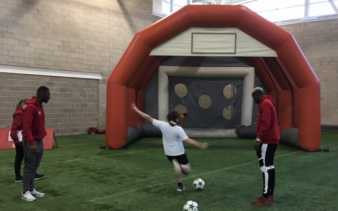 Paul Pogba and Matthew Fosu-Mensah battle it out at our Target Test Football Inflatable