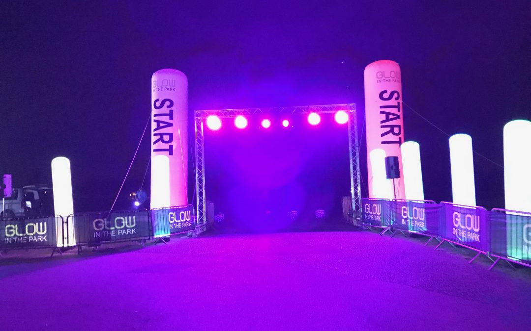 Night Event is Lit Up by Inflatable Columns supplied by Shoot4Goal